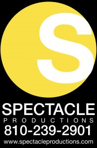 Spectacle Productions television studio logo with phone number